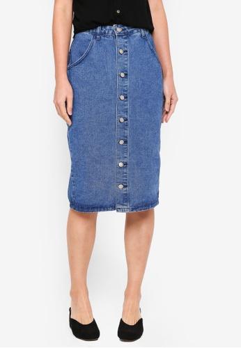 ZALORA blue Button Down Denim Pencil Skirt 4B90AAA267794BGS_1