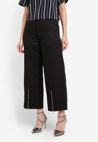 ZALORA black Zip Front Trousers 633E3AACD1379BGS_1