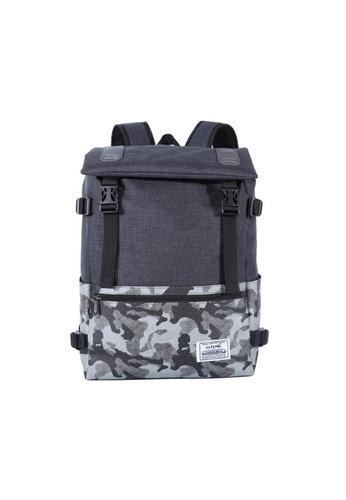 GreyPlus black Camo Minimalist Drawstring Backpack GR720AC0FG6DSG_1