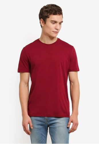Topman red Burgundy Slim Fit T-Shirt TO413AA0RO9PMY_1