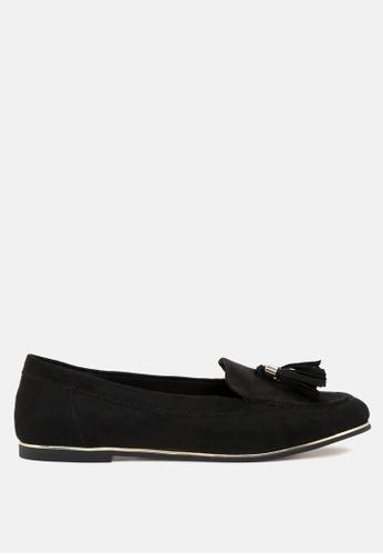 London Rag 黑色 黑色的流苏与金色流苏扣搭配 —圆头的芭蕾舞鞋 DCA31SHAD9B0E2GS_1