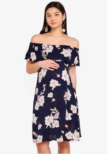 Dorothy Perkins navy Maternity Navy Floral Bardot Dress 2E461AAC9E80B5GS_1