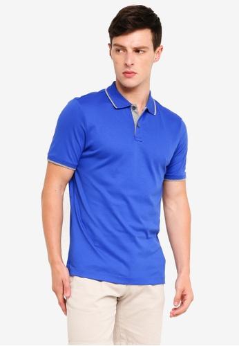 Banana Republic 藍色 Lux Jacquard Collar Polo Shirt C9B0BAA2DC29E8GS_1