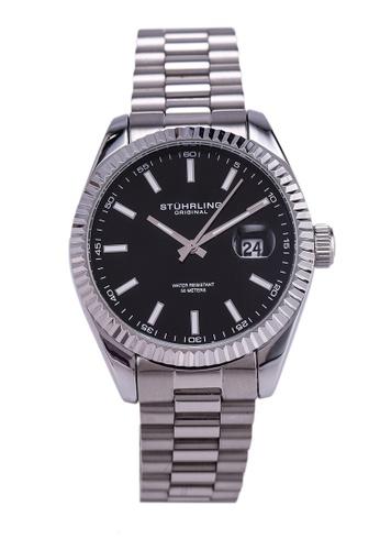 Stuhrling Original black and silver Lineage 3935 Quartz 42mm Classic Watch 635F1ACD87A7B0GS_1