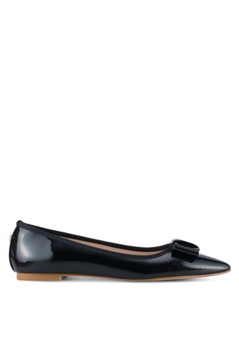 Velvet 黑色 Faux Patent Leather Flats 5C298SH5E3199BGS_1
