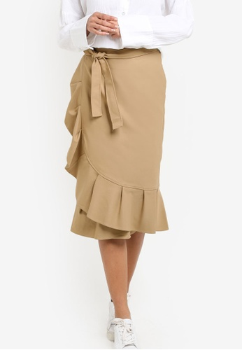 TOPSHOP brown PETITE Cotton Frill Midi Skirt DO816AA03KXSMY_1