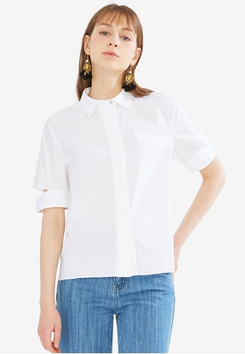 Hopeshow white Slit Cuffs Simple Shirt 9930BAA5511938GS_1