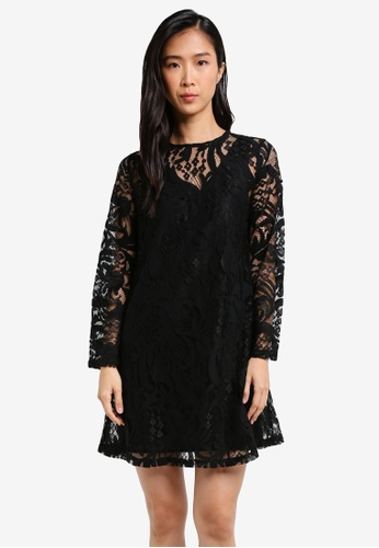 ZALORA black Lace Shift Dress 94568AAF0FE77DGS_1
