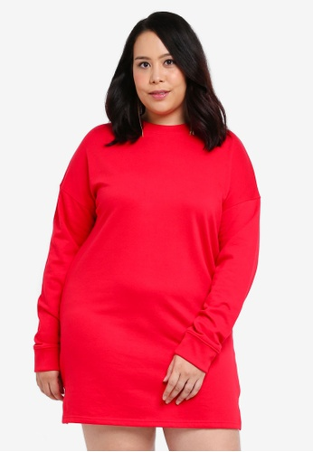 MISSGUIDED red Plus Size Sweater Dress C428CAA5871431GS_1