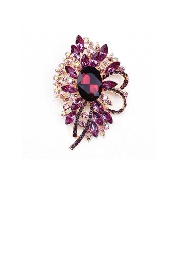 Glamorousky purple Elegant and Bright Plated Gold Geometric Flower Brooch with Purple Cubic Zirconia F561DAC670ED2FGS_1