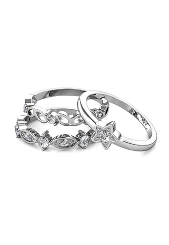 Her Jewellery silver Solar Ring (White Gold) - Made with premium grade crystals from Austria 168BDAC2B2BA37GS_1