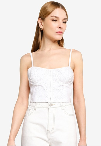 French Connection white IVA BRODERIE COT CROP TOP 02694AAB714597GS_1