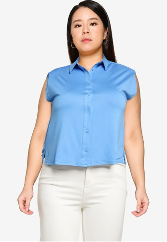 Violeta by MANGO blue Plus Size Sleeveless Top With Collar 736FFAAAF24688GS_1