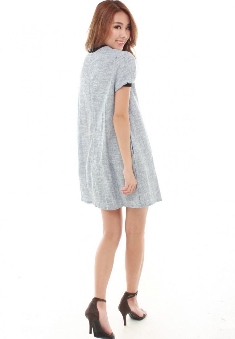 Sleeve Light Dress Sophialuv Lisea Blue Blue in Trapeze Short Light w5AxAUq4X