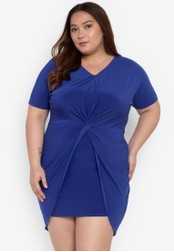 662c7284706 Curvy blue Plus Size Brisa Twisted Front Plain Tulip Dress  67476AAAB956BDGS 1