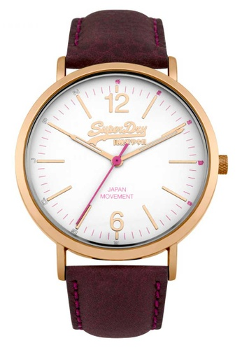 Superdry brown Superdry White, Rose Gold and Brown Leather Watch 709F3AC34618C1GS_1