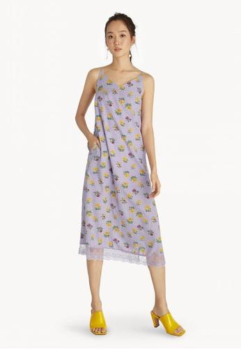 b643f6900bd9 Shop Pomelo Floral Strappy Midi Dress - Purple Online on ZALORA Philippines
