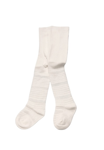 Little Kooma white Girl Breathable Cotton Stripe Tights 6 Months to 4 Years White 021CCKA8F176D8GS_1
