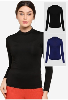 9dc050ecfce797 Lubna black and navy Turtle neck long sleeve inner top 2 in 1  286BEAA90144BDGS_1