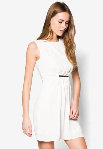 束腰牌飾無袖連身裙, zalora鞋服飾, 洋裝