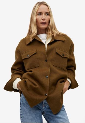 Mango brown Oversize Wool-Blend Overshirt D9F68AA6061C5DGS_1