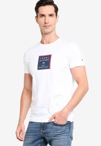 Tommy Hilfiger 白色 Box 印花T恤 D22B2AA729798AGS_1