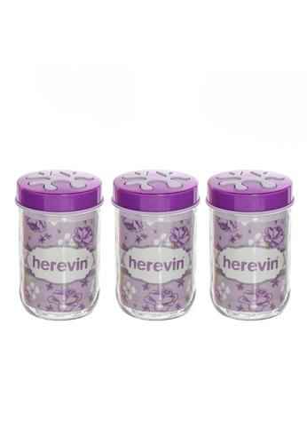 Herevin Herevin 3 Pcs 660ML Canister Set / Storage Container Set / Jar Set / Balang Kaca - Light Green / Light Pink / Light Purple 1F977HL5B1C5DDGS_1