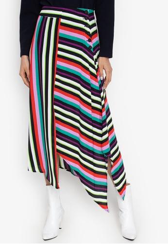 70a2744fce0 Shop TOPSHOP Striped Hanky Hem Midi Skirt Online on ZALORA Philippines