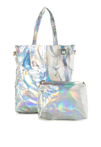 Chase Fashion silver Holographic Tote Bag With Pouch   CH547AC32VSHPH_1