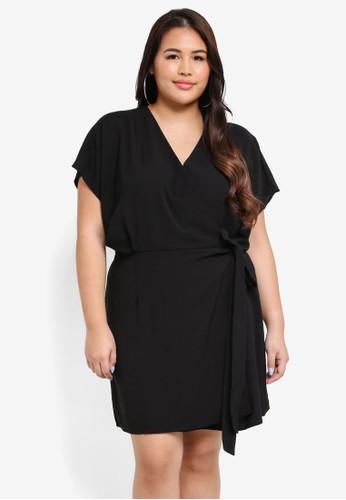 MISSGUIDED black Plus Size Kimono Sleeve Wrap Dress 66A72AAB9A6A3CGS_1