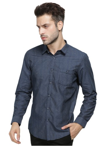 MANLY navy Manly Gilmour Navy Blue Slim Fit Striping Shirt  34A05AA2578A9AGS_1