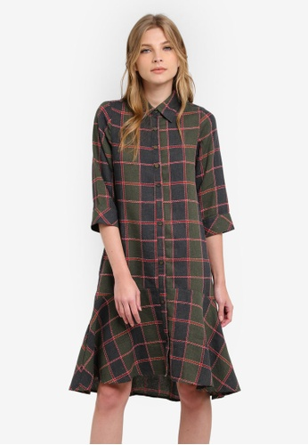 Geb. green Checkered Shirt Dress GE945AA0RWCXMY_1