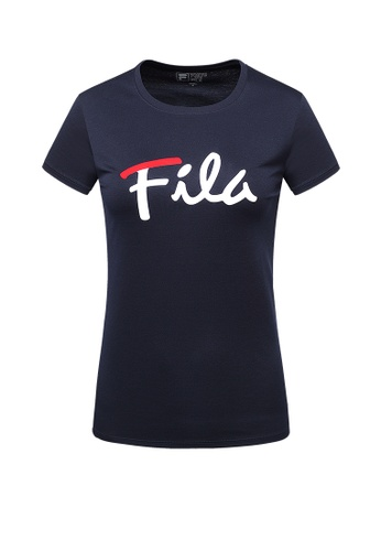 FILA navy Logo Cotton Tee 2E843AAB495542GS_1