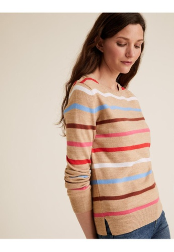 MARKS & SPENCER brown M&S Supersoft Striped Crew Neck Jumper C31DBAA42892F6GS_1