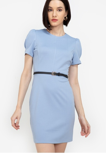 ZALORA WORK blue Puff Sleeves Bodycon Dress 20234AA93BEBC9GS_1