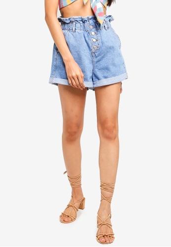 TOPSHOP 藍色 Paperbag Denim Shorts 2FEFFAA7B438F1GS_1