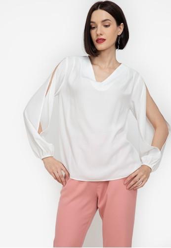 ZALORA WORK white V Neck Slit Sleeves Blouse 5F582AA13D9F1FGS_1