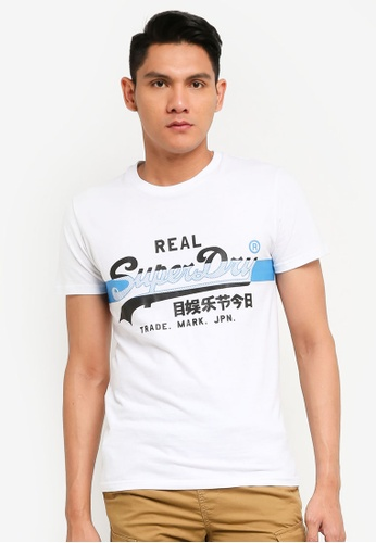 Superdry white Vintage Label Cross Hatch Tee 5EBABAA621E0A4GS_1