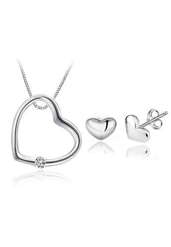 YOUNIQ silver YOUNIQ Simple Love 925 Sterling Silver Necklace Pendant with Cubic Zirconia & Earrings Set 722CDACBB8AE58GS_1