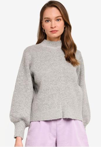 REUX grey Tania Mock Neck Knit 1A52FAAB575D17GS_1