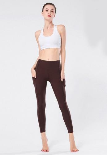 B-Code brown ZYG3059-Lady Quick Drying Running Fitness Yoga Sports Leggings -Brown C82B0AAE1480C4GS_1