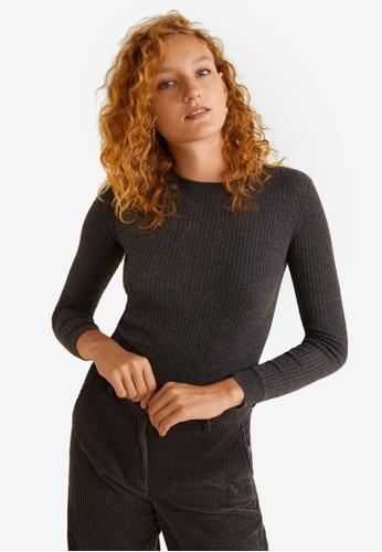 Mango grey Ribbed Fine-Knit Sweater 7600EAAFE85BC2GS_1