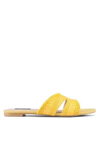 ZALORA yellow Straw Weaved Sandals 9CF69SH497A62BGS_1