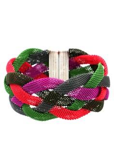Bracelet Colored Braided Mesh Magnet Lock