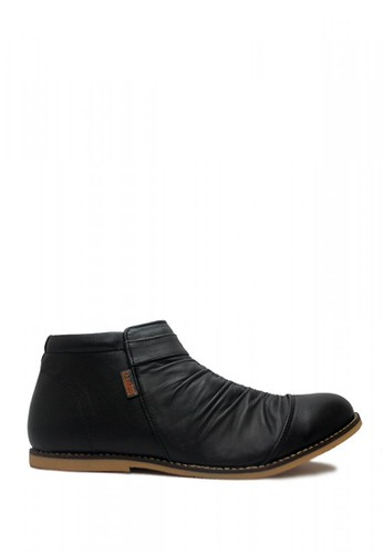 D-Island black D-Island Shoes Slip On Zipper Wrinkle Genuine Leather Black DI594SH75CWAID_1