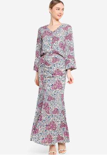 Lubna 粉紅色 and 藍色 Gathered Midi Skirt With Shirt Set 76F1FAA063838DGS_1