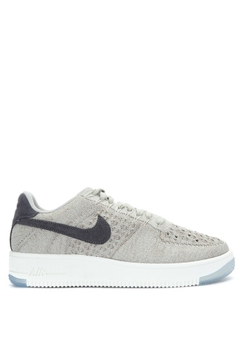 Nike grey and white Nike Air Force 1 Flyknit Low Shoes NI126SH0JNQ5PH_1