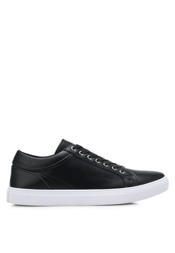 harga Faux Leather Sneakers with Trim Detail Zalora.co.id