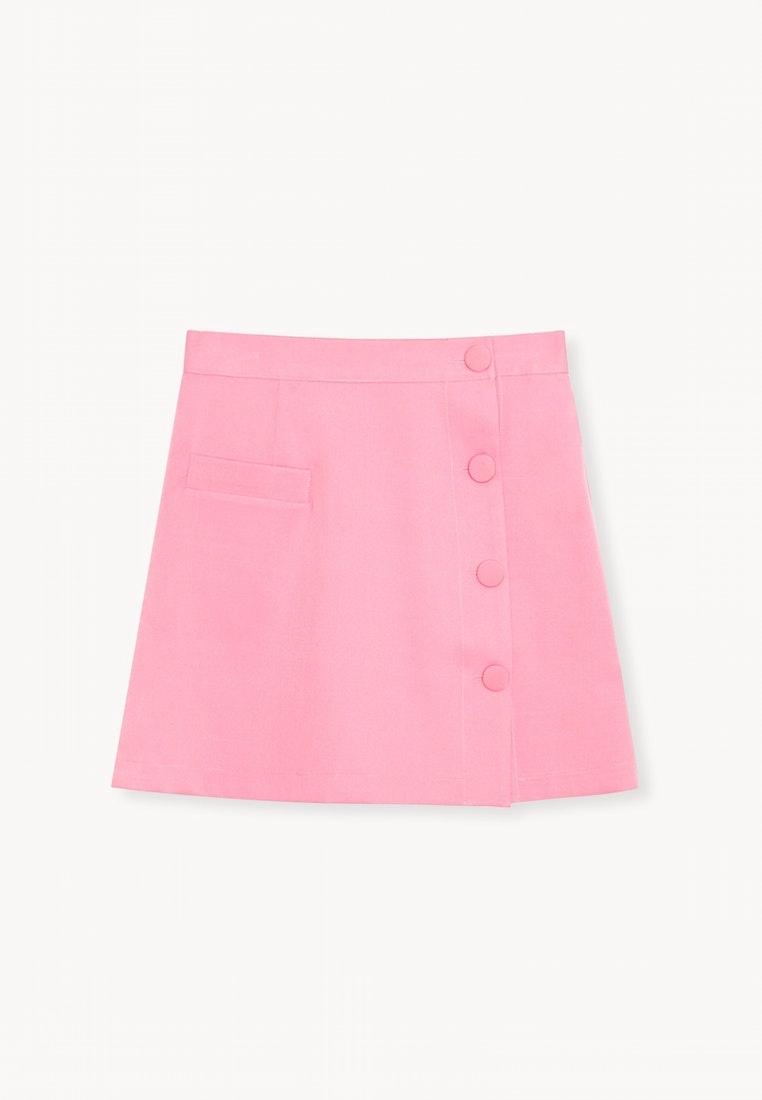 Side Waist High Pink Skirt Pink Button Pomelo ARacqa