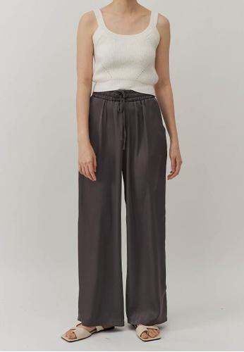We Enjoy Simplicity grey Claire Satin Long Straight Pants (Grey) A451FAAFDE6BD7GS_1